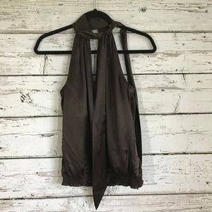 White House Black Market NWT Brown Silk Tie Halter